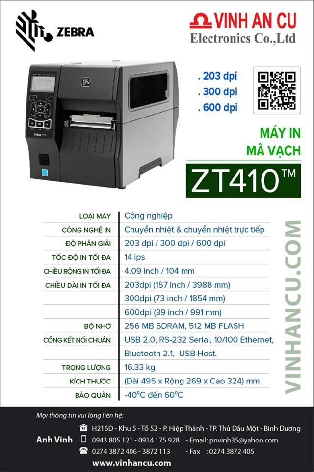 máy zebra zt410 203 dpi 300 dpi 600 dpi